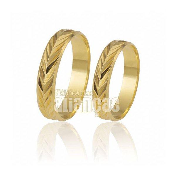 Alianças de Noivado e Casamento em Ouro Amarelo 18k 0,750 FA-190