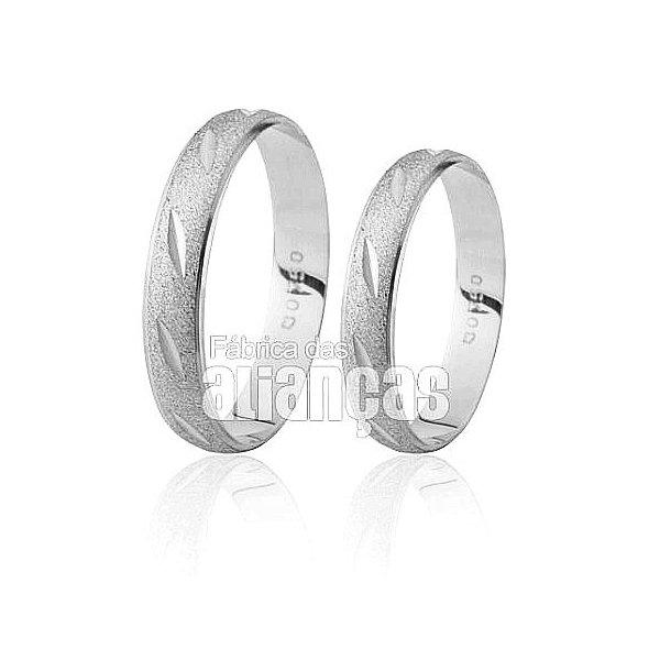 Alianças de Noivado e Casamento em Ouro Branco 18k 0,750 FA-191-B