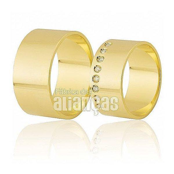 Alianças de Noivado e Casamento em Ouro Amarelo 18k 0,750 FA-314