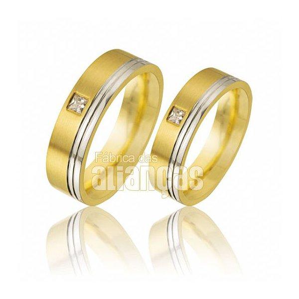 Alianças de Noivado Ouro Escovado 18k com Diamantes