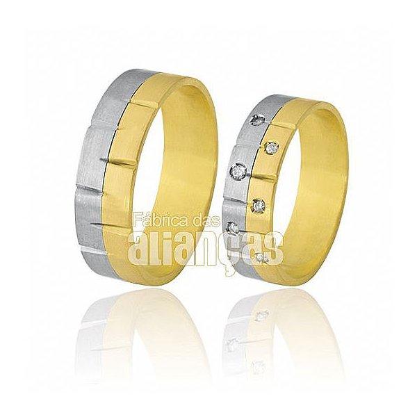 Alianças de Bodas em Ouro Amarelo 18k 0,750 FA-370