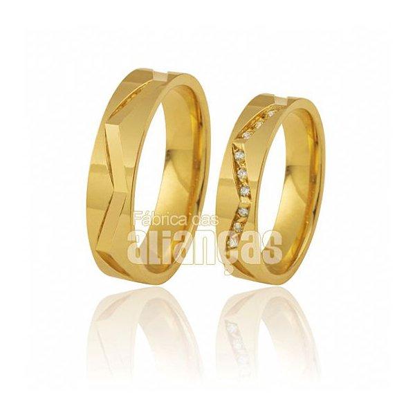 Alianças de Noivado e Casamento em Ouro Amarelo 18k 0,750 FA-393