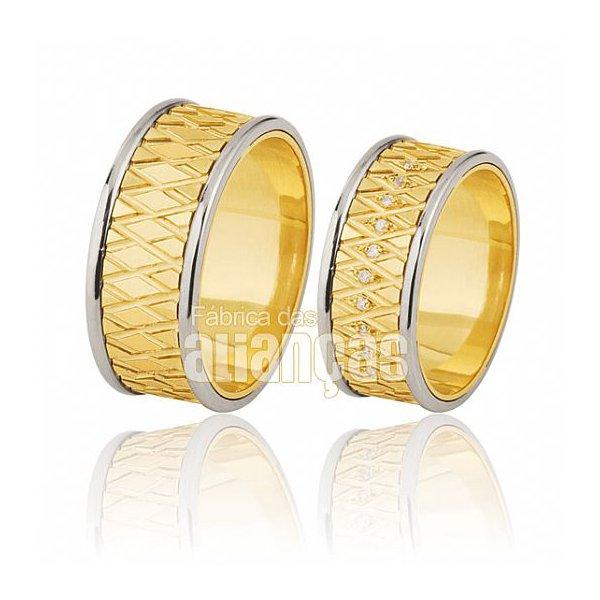 Alianças de Noivado e Casamento em Ouro Amarelo 18k 0,750 FA-394-Z