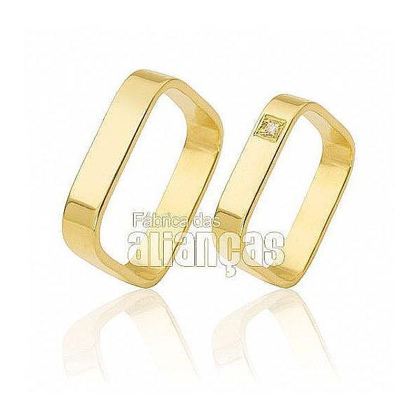 Alianças de Noivado e Casamento em Ouro Amarelo 18k 0,750 FA-451
