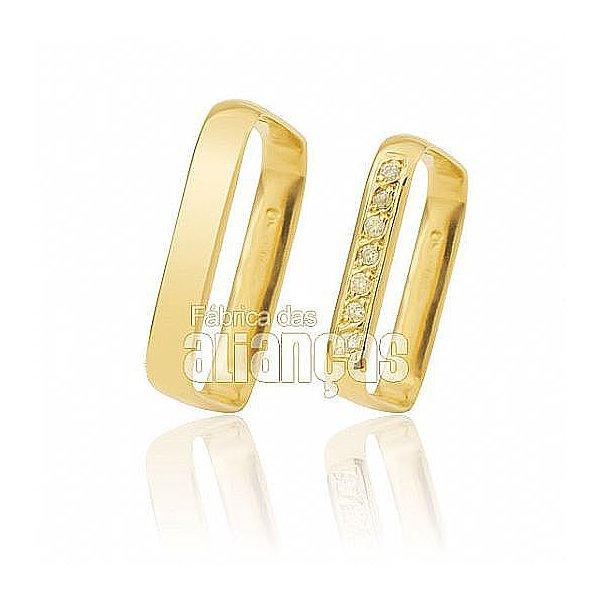 Alianças de Noivado e Casamento em Ouro Amarelo 18k 0,750 FA-452