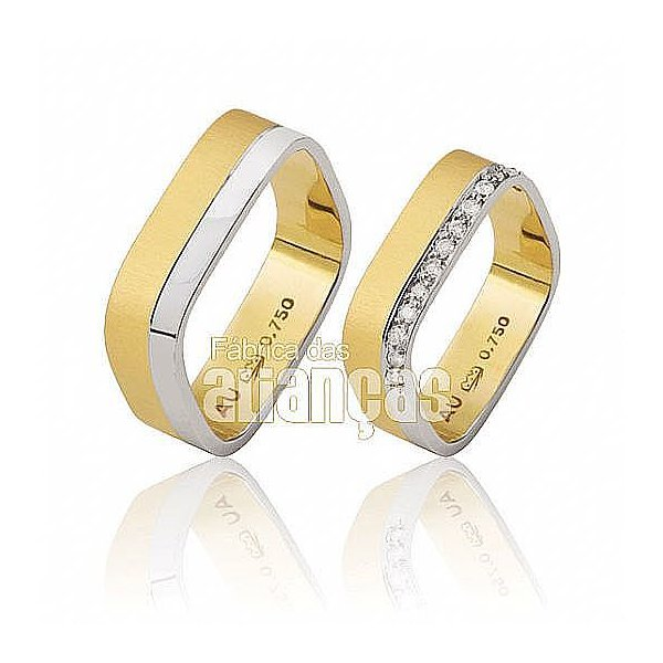 Alianças de Noivado e Casamento em Ouro Amarelo 18k 0,750 FA-453