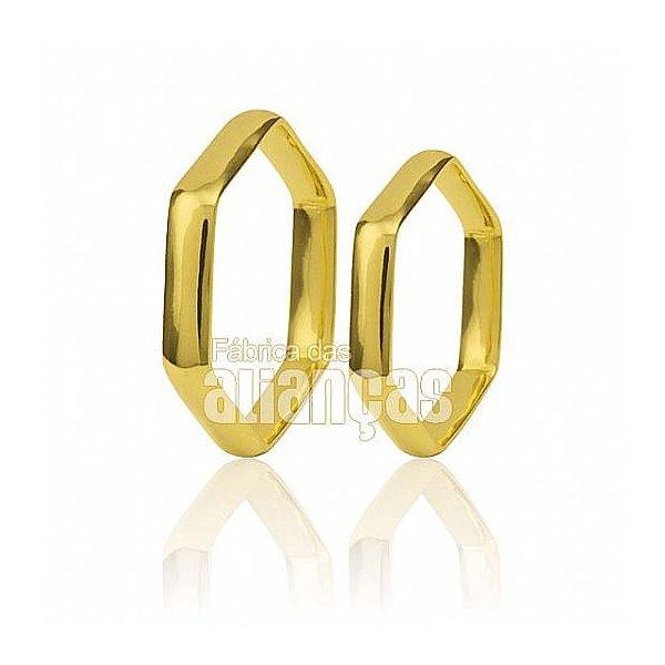 Alianças de Noivado e Casamento em Ouro Amarelo 18k 0,750 FA-458