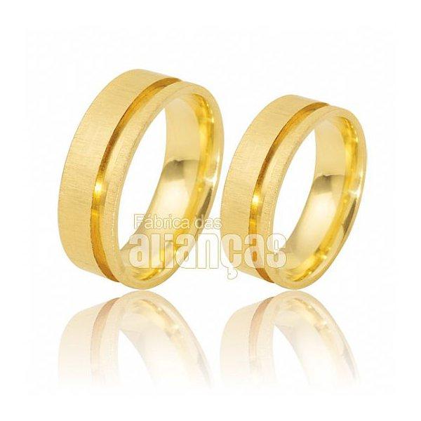Alianças de Noivado e Casamento em Ouro Amarelo 18k 0,750 FA-485