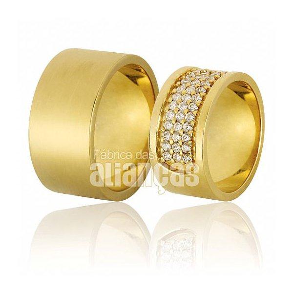 Alianças de Noivado e Casamento em Ouro Amarelo 18k 0,750 FA-621