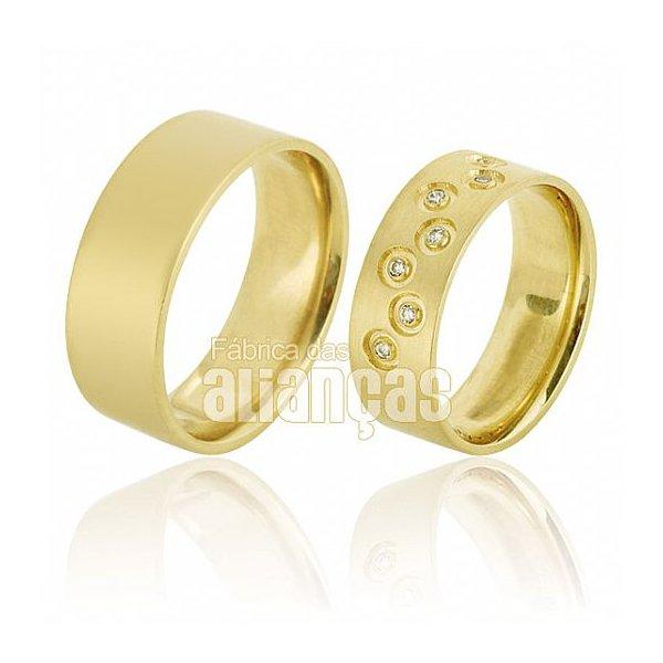 Alianças de Noivado e Casamento em Ouro Amarelo 18k 0,750 FA-659-Z