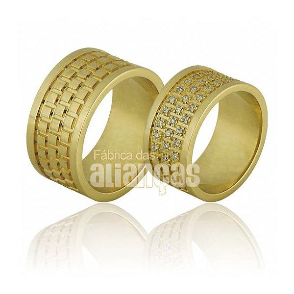 Alianças de Noivado e Casamento em Ouro Amarelo 18k 0,750 FA-665