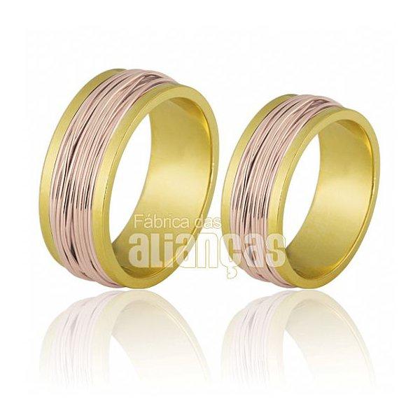 Alianças de Noivado e Casamento em Ouro Amarelo 18k 0,750 FA-696