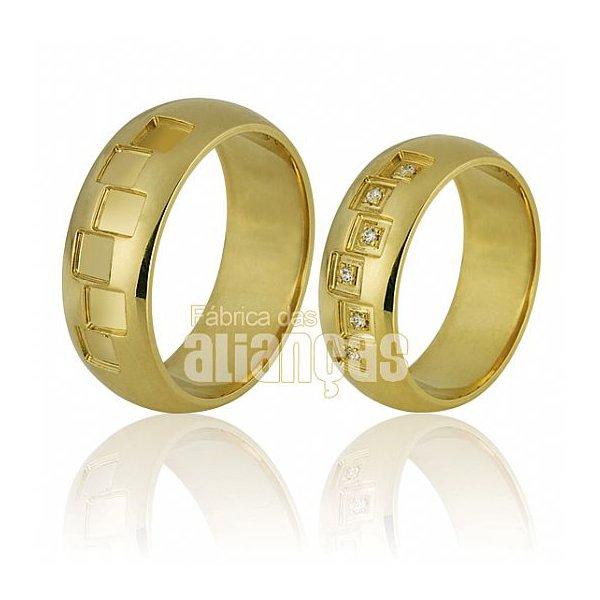 Alianças de Noivado e Casamento em Ouro Amarelo 18k 0,750 FA-701