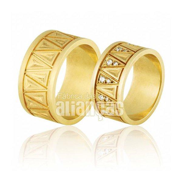 Alianças de Noivado e Casamento em Ouro Amarelo 18k 0,750 FA-716