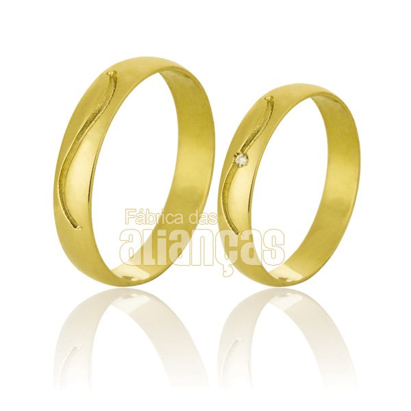 Alianças de Noivado e Casamento em Ouro Amarelo 18k 0,750 FA-733-Z