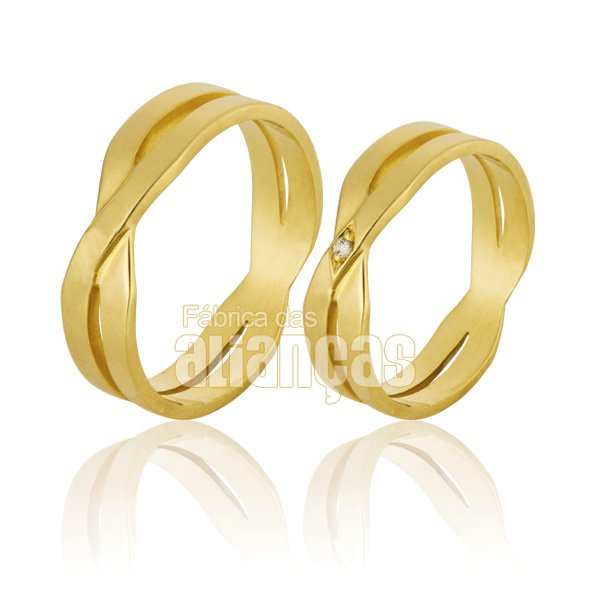Aliança de Noivado e Casamento em Ouro Amarelo 18k 0,750 FA-794