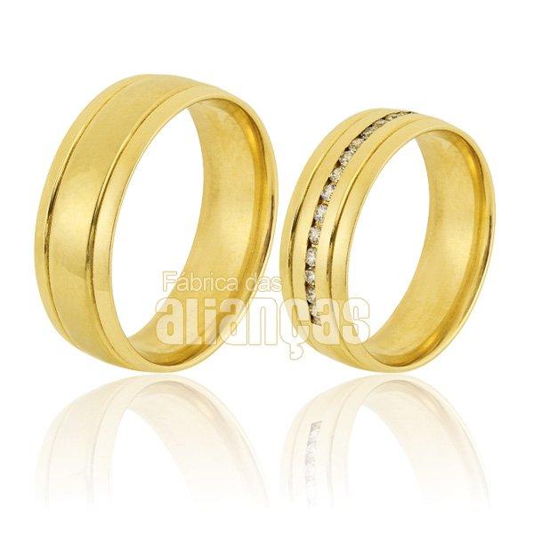 Alianças de Noivado e Casamento em Ouro Amarelo 18k 0,750 FA-826-Z