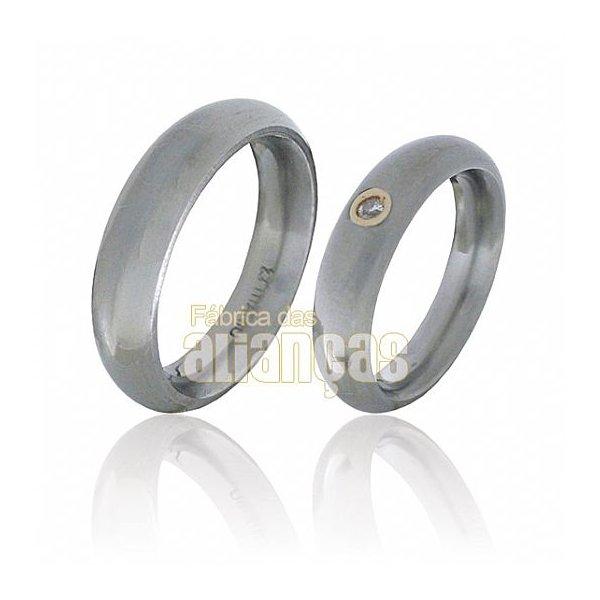 Aliança de Noivado e Casamento em Titânio e Ouro Amarelo 18k 0,750 FA-TMB-50