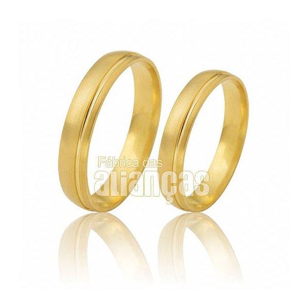 Alianças de Noivado e Casamento em Ouro Amarelo 18k 0,750 FA-477