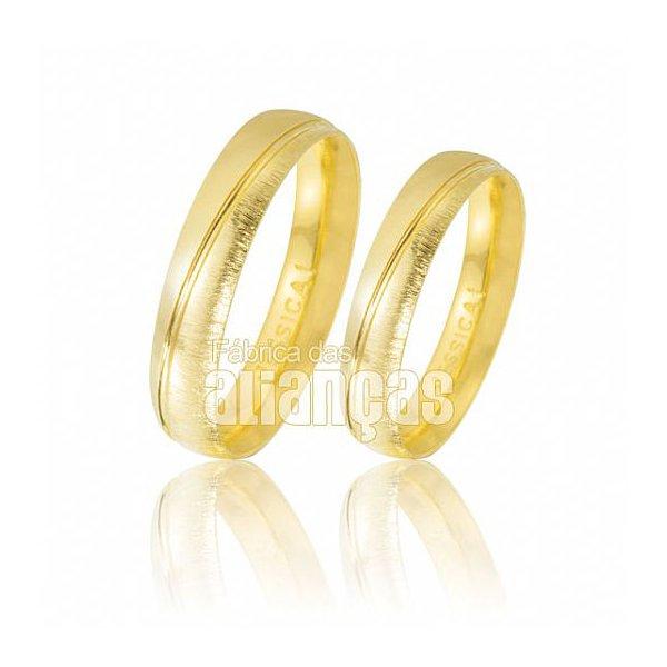 Alianças de Noivado e Casamento em Ouro 18k 0,750 FA-478