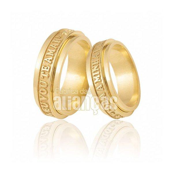 Alianças de Noivado e Casamento em Ouro Amarelo 18k 0,750 FA-521