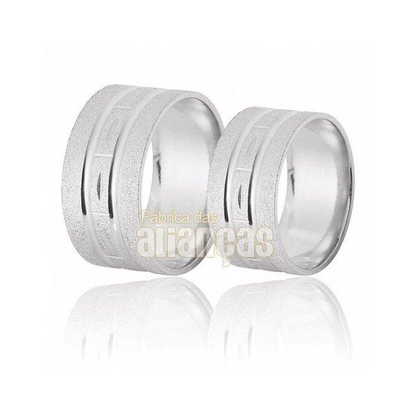 Aliança em Prata 0,950k Reto Diamantada