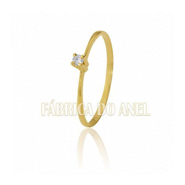 Anel Solitário em Ouro Amarelo 18k 0,750 S-05