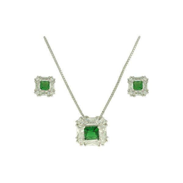 Conjunto Colar Zircônia Lesprit U17K150021 Ródio Verde Esmeralda e Cristal