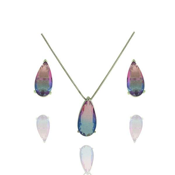 Conjunto Zirconia Lesprit JXON001541 Ródio Rainbow Rosa e Azul