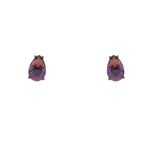 Brinco Zirconia Lesprit U18A020051 Ródio Negro Rainbow Rosa e Roxo