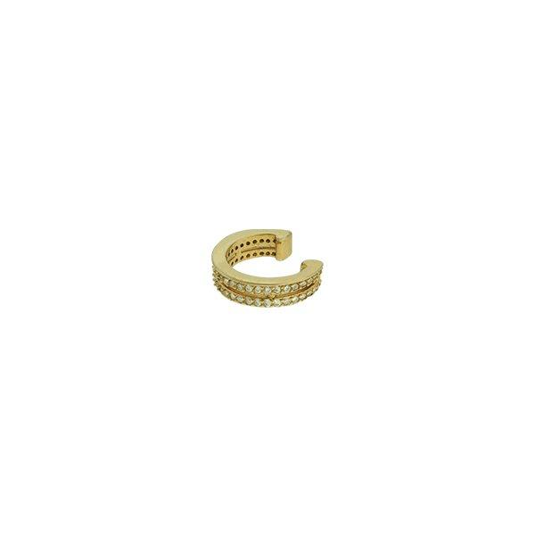 Brinco Piercing de Pressão Zircônia Lesprit LB10121WGL Dourado Cristal