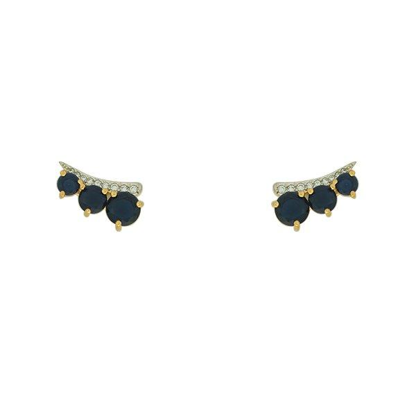 Brinco Zirconia Lesprit MJ13635 Dourado Azul Leitosa e Cristal