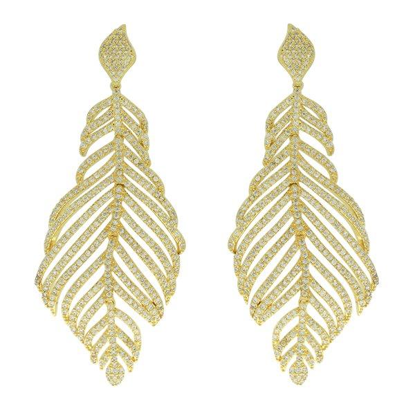 Brinco Zircônia Lesprit J5391-01 Dourado Cristal