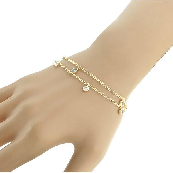 Pulseira Zircônia Lesprit U18K120041GL Dourado Cristal