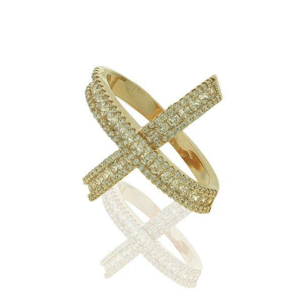 Anel Zirconia Lesprit LA03111 Dourado Cristal