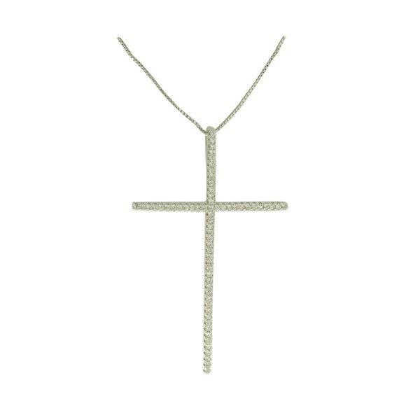 Colar Crucifixo Zircônia Lesprit PPG00291 Ródio Cristal