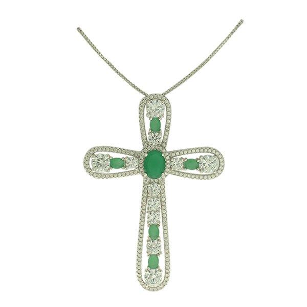 Colar Crucifixo Zircônia Lesprit PPG50591 Ródio Verde Leitosa e Cristal