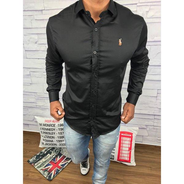 Camisa Manga Longa Ralph Lauren - Preta lisa  535275b9fb2