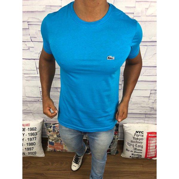 7c76b818500 Camiseta Lacoste Lisa -Azul Claro Logo Azul Escuro
