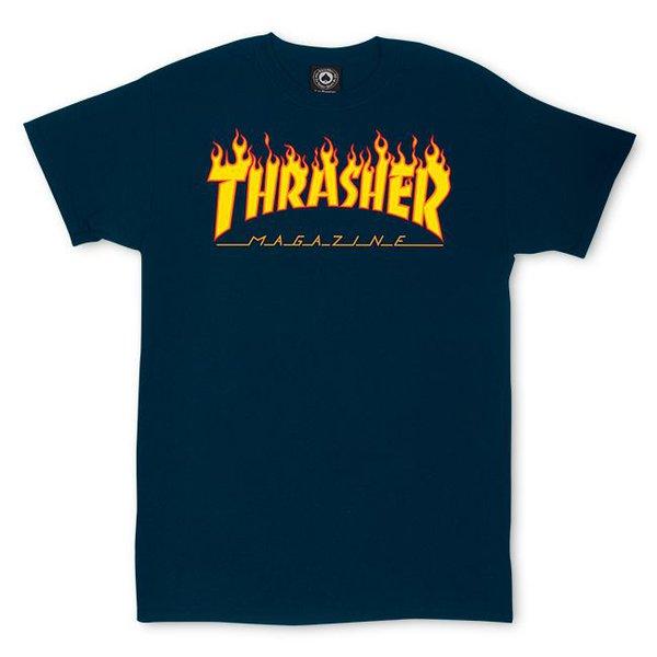 CAMISETA THRASHER FLAME LOGO NAVY