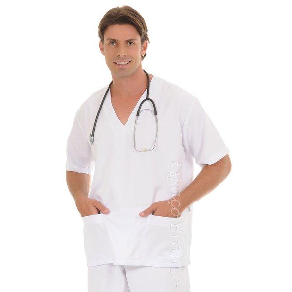 Conjunto Cirúrgico em Microfibra Gola V Manga Curta - Branco