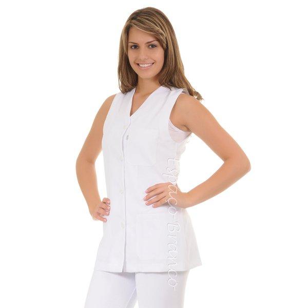 Jaleco Feminino Acinturado Plus Size em Microfibra Gola V Branco