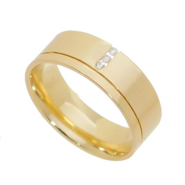 Aliança individual Casamento e Noivado em Ouro 18K de 7,0mm com Zircônias