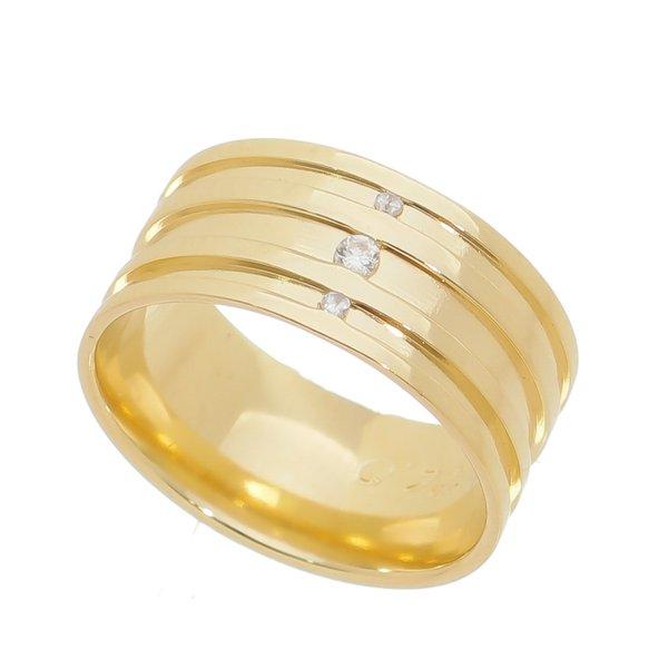 Aliança individual Casamento e Noivado em Ouro 18K de 9,0mm com Zircônias