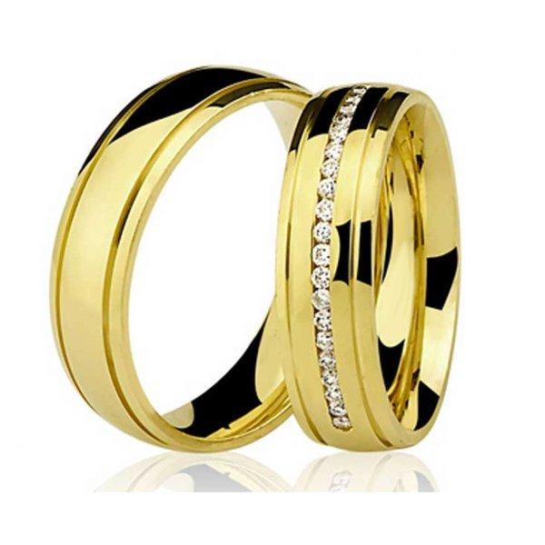 Par de Aliança Casamento e Noivado de Ouro 18K com 5mm com Brilhantes