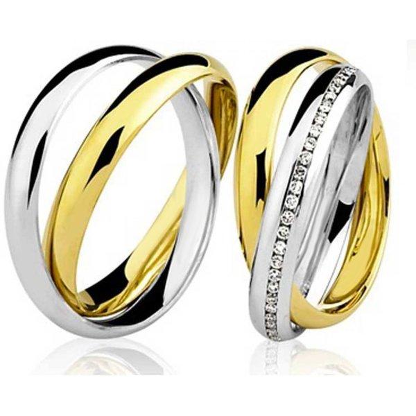 Par de Aliança Casamento e Noivado em Ouro Branco e Amarelo 18K com 5mm e Brilhantes
