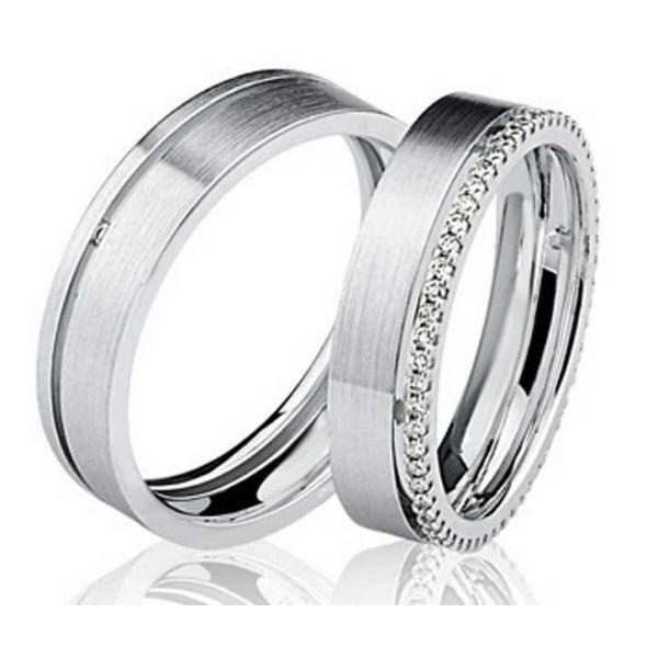 Par de Aliança Casamento e Noivado em Ouro Branco 18K com 6mm e Brilhantes