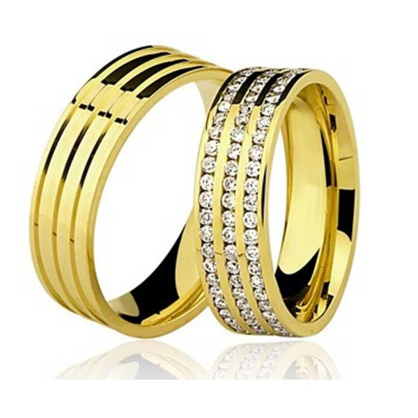 Par de Aliança Casamento e Noivado de Ouro 18K de 6mm com Brilhantes
