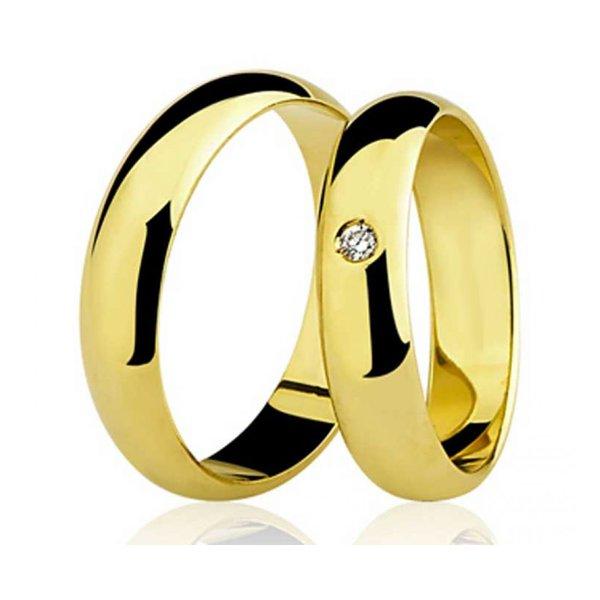 Par de Aliança Casamento e Noivado de Ouro 18K com 4mm e Diamante