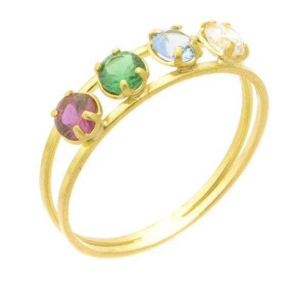 Anel infantil de Ouro 18K Pedras Coloridas